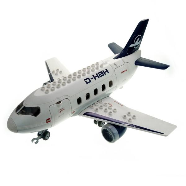 1 x Lego Duplo Jumbo Jet Flieger groß weiß blau Passagier Flugzeug Tragfläche Düsen groß für Set Airport 7840 52917c01