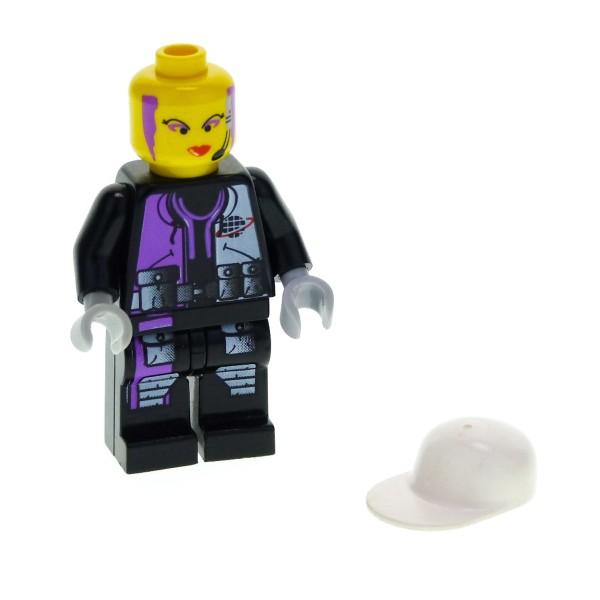 1 x Lego System Figur Alpha Team Frau Radia Torso schwarz violette Planet Logo Headset Aufdruck Bascape weiss alp009