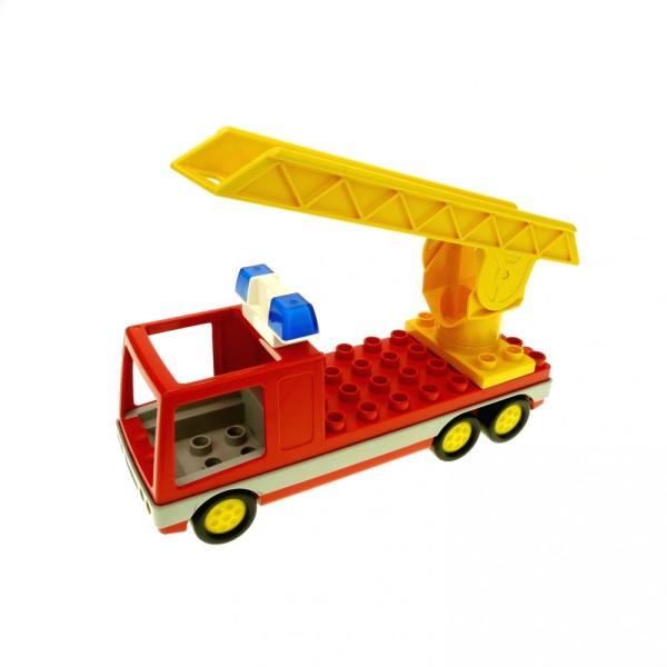 1 x Lego Duplo Feuerwehr rot gelb LKW Drehleiter Blaulicht Sirene Auto Fahrzeug 4567c02 2033c01 9181 2691