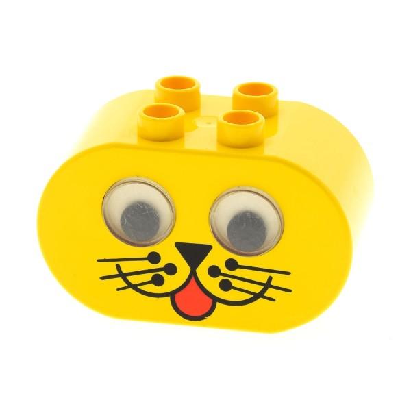 1 x Lego Duplo Tier Kopf Rassel gelb 2x4x2 Baustein Motiv Stein wackel Augen Kuller Auge Tiger Katze Baby Primo 2071pb01