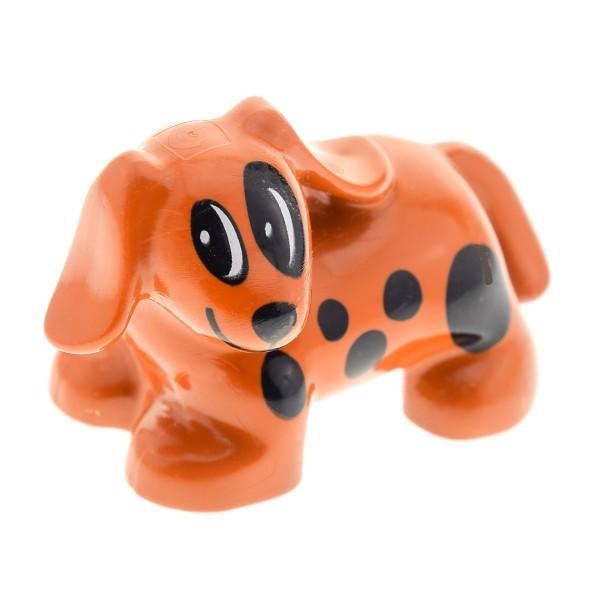 1 x Lego Duplo Tier Hund dunkel orange braun mit Flecken Punkte schwarz Spot Haustier Bauernhof Set 9130 3618 4686 31101