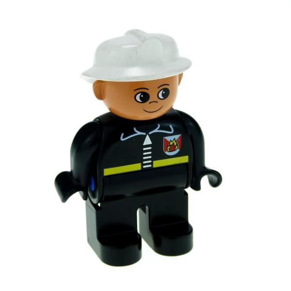 1 x Lego Duplo Figur Mann Feuerwehrmann Hose Jacke schwarz mit Feuerwehr Logo Helm weiss Feuerwehr 4555pb045