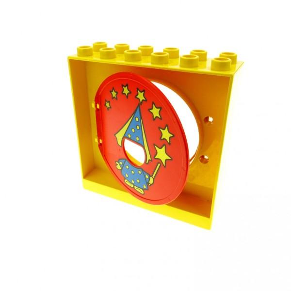 1 x Lego Duplo Kugelbahn Halter gelb Tür Tor Klappe rot mit Zauberer Fee und Zauberstab Röhre 31193pb05 31191