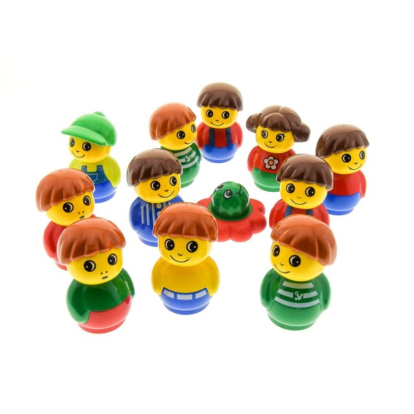 11 x Lego Duplo Primo Figuren B-Ware Set abgenutzt Junge Mädchen rot blau grün gelb 1x1 rund Baustein Baby Blume