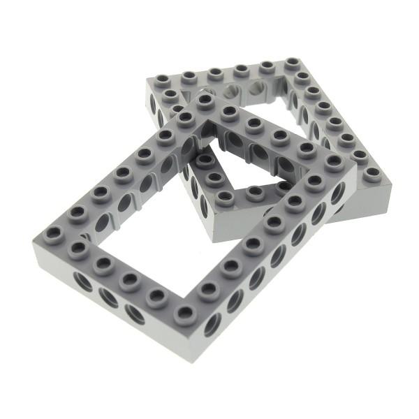 2 x Lego Technic Bau Rahmen Stein neu-hell grau 6x8 Lochstein Technik (Unterseite Punkt) Set 8129 70816 10236 70620 10175 4211848 40345 32532
