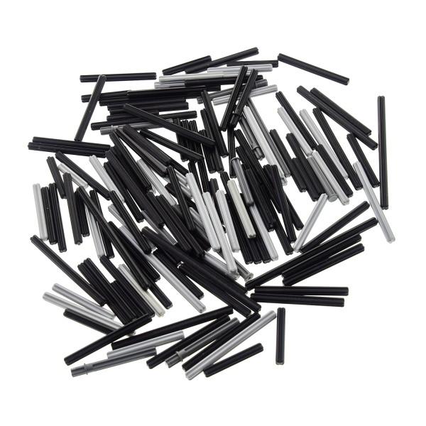 100 Lego Technic Stangen Teile ca. 120 g z.B. Kreuzstange Achsstange Kreuz Stange Achse mit Stopper oder Noppe grau schwarz Technik zufällig gemischt