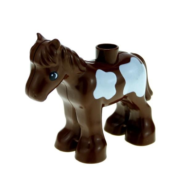 1x Lego Duplo Tier Pferd Fohlen braun Flecken weiß Reitstall horse03c01pb02