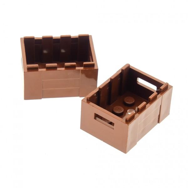 2 x Lego System Kiste reddish rot braun Kisten Korb Container Box für Piraten Castle Eisenbahn Ritter 4211185 30150