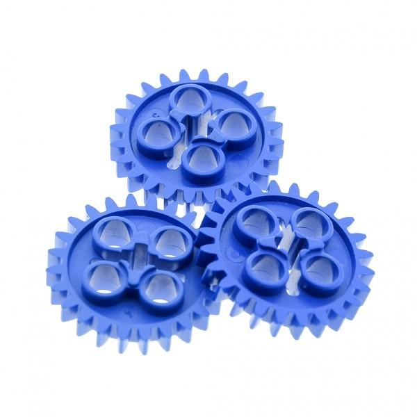 3 x Lego Technic Zahnrad blau z24 Zahnräder Zähne Rad Technik 3648