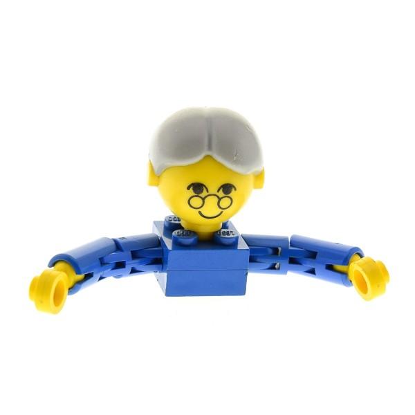 1 x Lego System Homemaker Großkopf Figur B-Ware Frau Mutter Oma Großmutter Torso blau Gesicht mit Brille Haare grau Zopf 205 x197bun 685px2c01