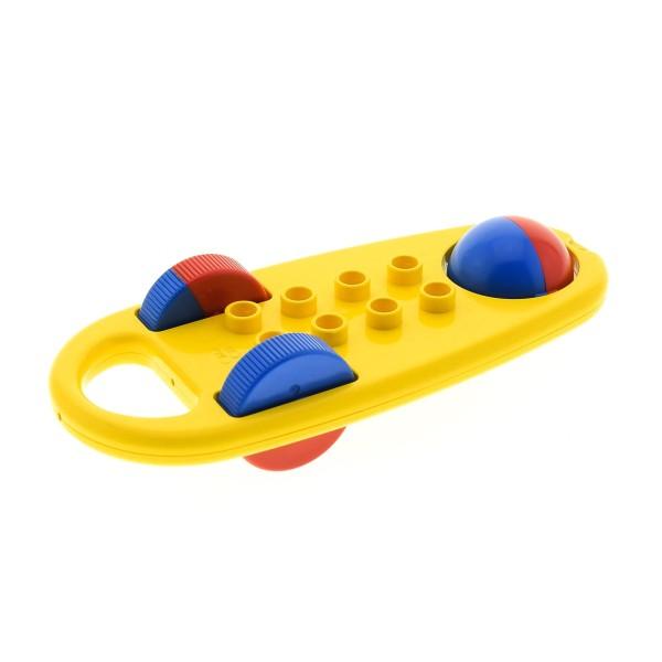 1 x Lego Duplo Primo Baby Rassel gelb Klapper Roller Fahrzeug Räder rot blau Baustein Set 2053  2054  x1727c01