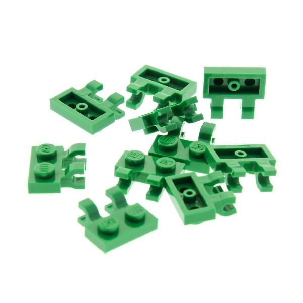 10 x Lego System Platte Träger 1x2 grün modifiziert mit Clips horizontal Scharnier Platte Set 7733 20015 20011 4520671 60470