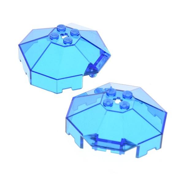 2 x Lego System Cockpit transparent dunkel blau 6x6 windscreen mit Achs Loch Ufo Mars Space Kanzel Kuppel Fenster Set 6195 6145 2418b