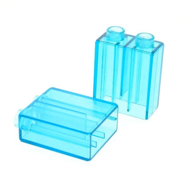 2 x Lego Duplo Bau Glas Stein B-Ware abgenutzt transparent hell blau uni 1x2x2 Glassteine leicht zerkratzt für Set 10844 10803 10508 9231 5634 42657 4066