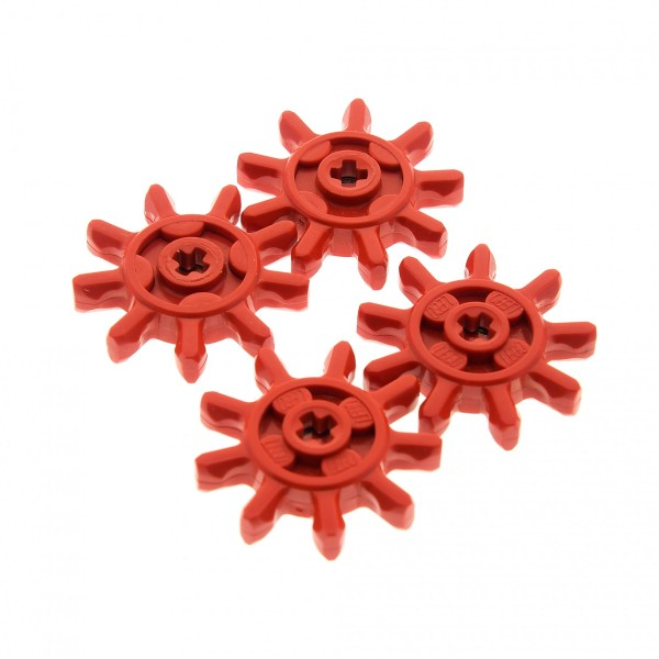 4 x Lego Technic Zahnrad rot 9Z Zähne Zahnräder für Raupen Panzer Kette Rad Technik 9 Tooth g9
