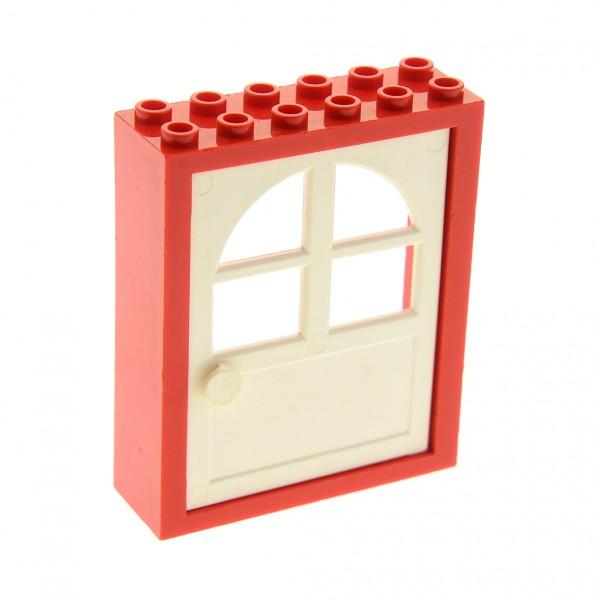 1 x Lego System Freestyle Haustür Rahmen rot 2x6x6 Tür Blatt weiss 1x6x6 mit Fenster Haus 600 6235c01