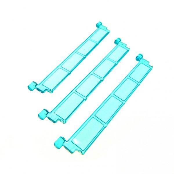3 x Lego System Rolltor Lamelle transparent hell blau ohne Griff Tür Element Garage 4218