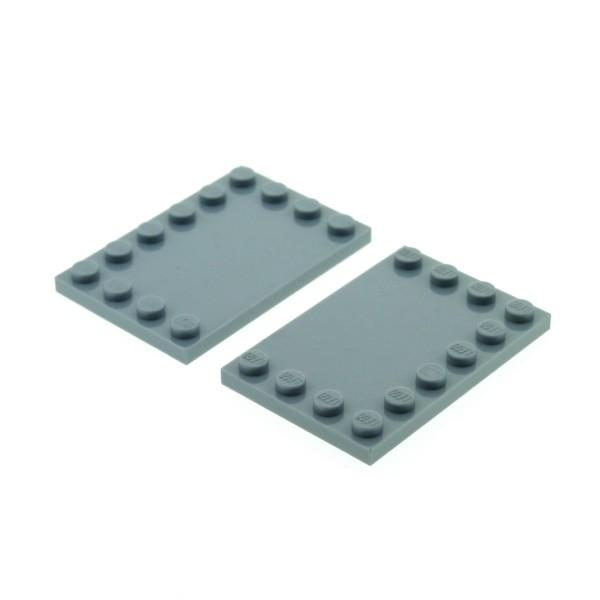 2 x Lego System Bau Platte neu-hell grau 4 x 6 Fliese mit Noppen am Rand für Set Star Wars 10177 10182 8273 8099 71040 6211 7961 8098 6180