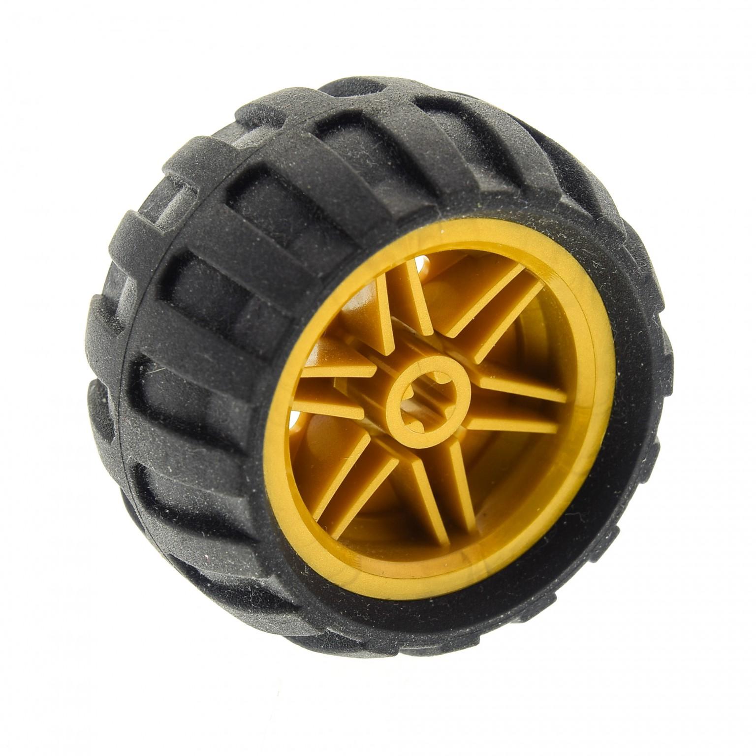 1x Lego Technic Rad 43.2x26 Felge gelb 30.4x20 Ballon Reifen 61481 56145c04