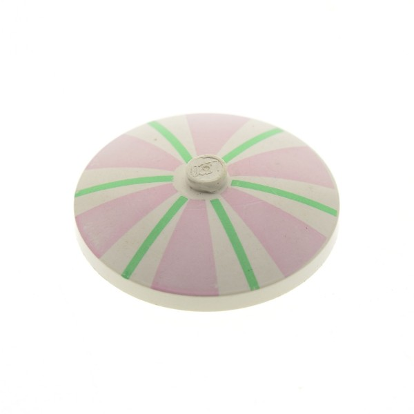 1 x Lego Schirm Schild rund Sat Schüssel Radar weiss 4x4 blass hell rosa pink bedruckt Streifen grün für Set 6410 6411 6414 3960pb001