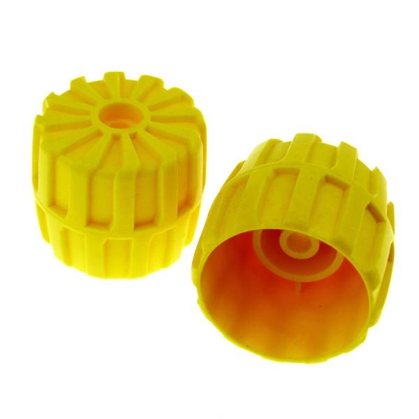 2 x Lego System Rad Räder gelb hart Plastik 35mm D. x 31mm Aquazone Aquanauts Auto Fahrzeug 2593