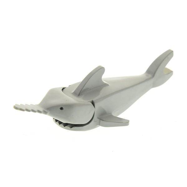 1 x Lego System Tier Sägefisch alt-hell grau Hai Fisch Zoo Pirat Sawfish für Set Town Divers Taucher 6441 6559 6560 2547c02