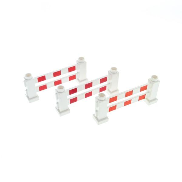3 x Lego Duplo Zaun weiss 1x6x2 Zäune mit Streifen rot Gatter Geländer Absperrung Fence für Polizei Baustelle Zoo 31021p01