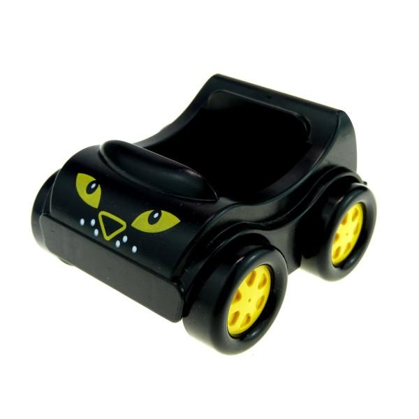 1 x Lego Duplo Fahrzeug Auto Go-Kart schwarz mit Augen PKW Felge gelb für Set Racing Leopard 1403 31363pb07
