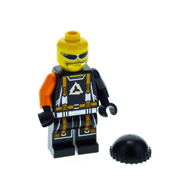 1 x Lego System Figur Alpha Team Mission Deep Freeze Flex Arctic Torso schwarz Gurt orange silber Schnalle ein Arm orange Sonnenbrille alp027