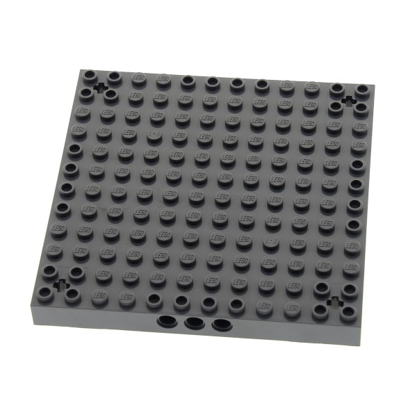1 x Lego System Bau Platte 12x12 neu-dunkel grau Noppen Achs Loch in jeder Ecke Burg Turm Grund Platte Set 7623 7237 4510 7244 4260871 52040