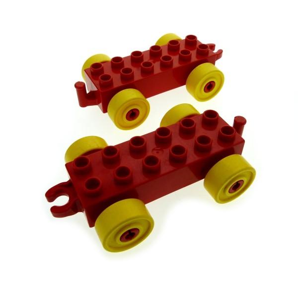 2 x Lego Duplo Anhänger 2x6 rot Reifen Rad gelb Auto Schiebe Zug Zirkus Eisenbahn Kupplung offen neue Form 4100750 2312c01