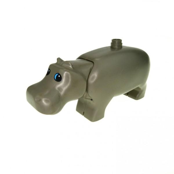 1 x Lego Duplo Tier Nilpferd alt-dunkel grau groß Flusspferd Hippo Zoo Zirkus Safari Kopf beweglich 2257c01pb01