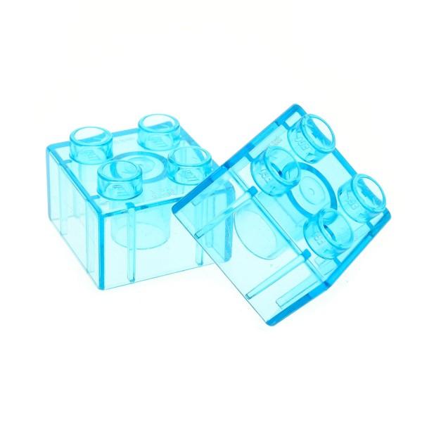 2 x Lego Duplo Bau Stein 2x2 transparent hell blau Glassteine für Zoo Parks 5634 10514 6156 10805 10596 3437 31460