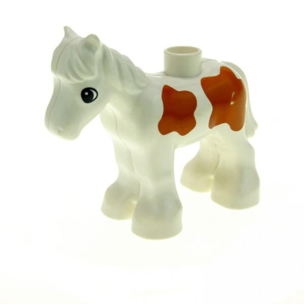 1 x Lego Duplo Tier Pferd Fohlen klein weiss braun gescheckt Zoo Zirkus Bauernhof Reiterstall 4225958 horse03c01pb02