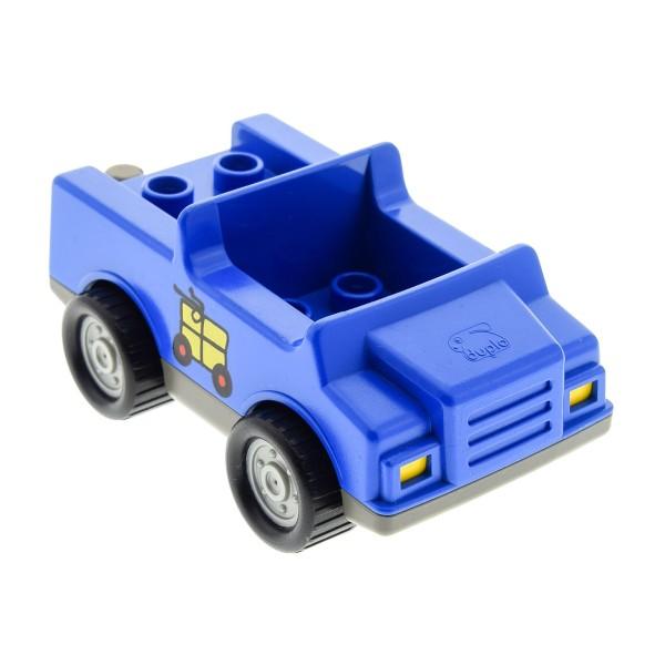 1 x Lego Duplo Auto blau alt-dunkel grau PKW Post Paket Fahrzeug 4 Noppen im Sitz klein 2218c04pb02