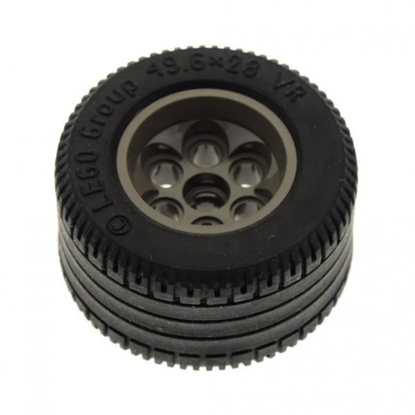 1x Lego Technic Rad schwarz 49.6x28 VR Felge alt-dunkel grau 6594 6595c02