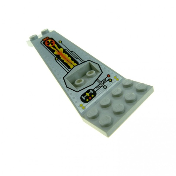 1 x Lego System Ufo Flügel Platte alt-hell grau 2 x 3 1/3 bedruckt Panele Stütze UFO Logo Mutterschiff 6979 30118pb01