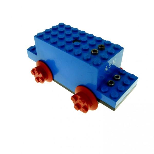 1 x Lego System Electric Motor 4.5V Type I blau 12 x 4 x 4 12x4x4 mit 4.5 V Stempel und Räder Eisenbahn Zug Lok Train Motor geprüft bb07pb01