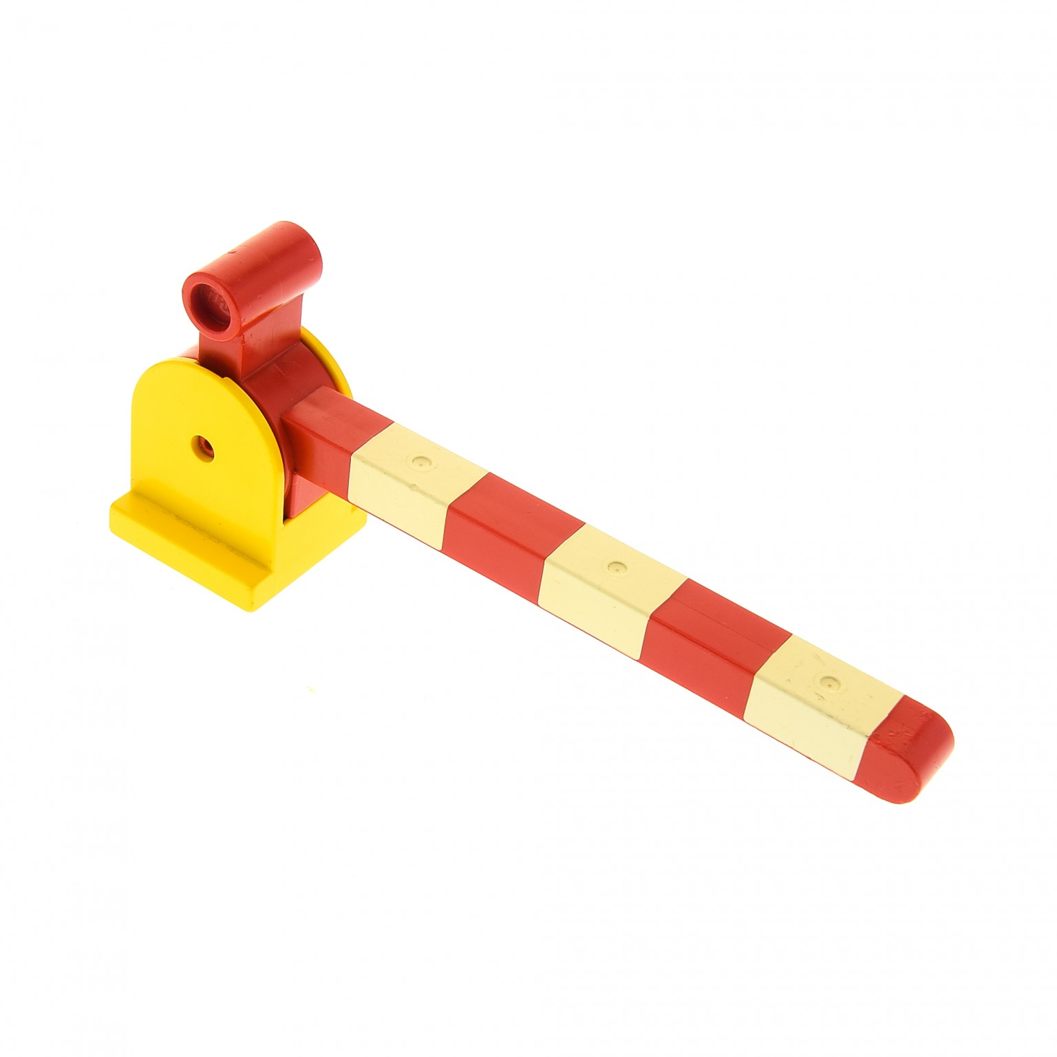 1x Lego Duplo Bahn Schranke gelb weiß rot Hebel lang Übergang 6405c01 vergilbt