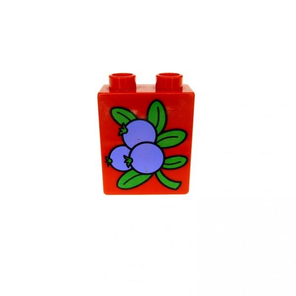 1 x Lego Duplo Motivstein rot 1x2x2 bedruckt Frucht violett Früchte Blau Beere Bild Bau Stein 4066pb176