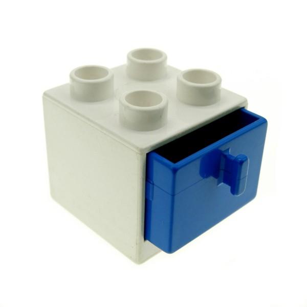1 x Lego Duplo Möbel Schrank weiss blau 2x2x1.5 Kommode mit Schublade 2x2 Schlafzimmer Küche Bad Puppenhaus 4890 4891
