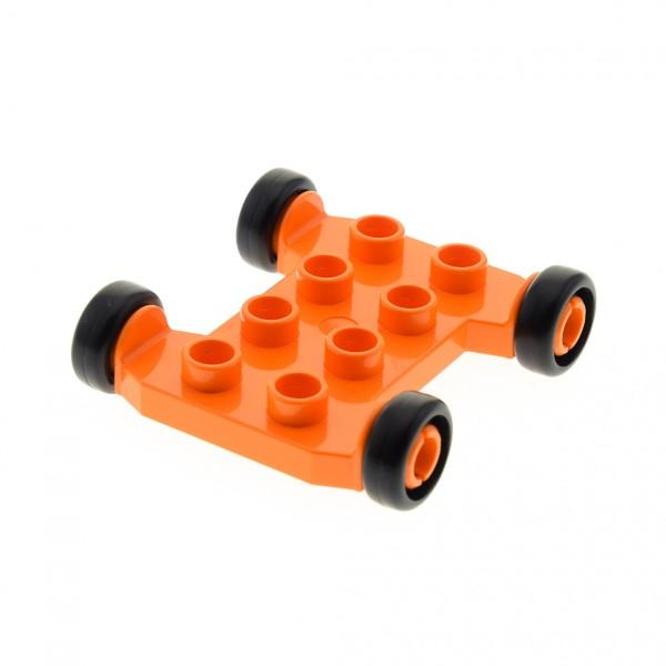 1 x Lego Duplo Fahrzeug orange Fahrgestell 2x4 für Mischer Betonmischer Auto Baustelle Unterbau für Bob der Baumeister Figur Mixi 42092c01