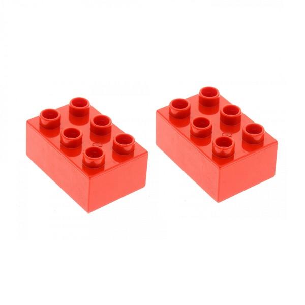2x Lego Duplo Basic Bau Stein 2x3 rot Set 6158 10545 5683 5947 4558881 87084