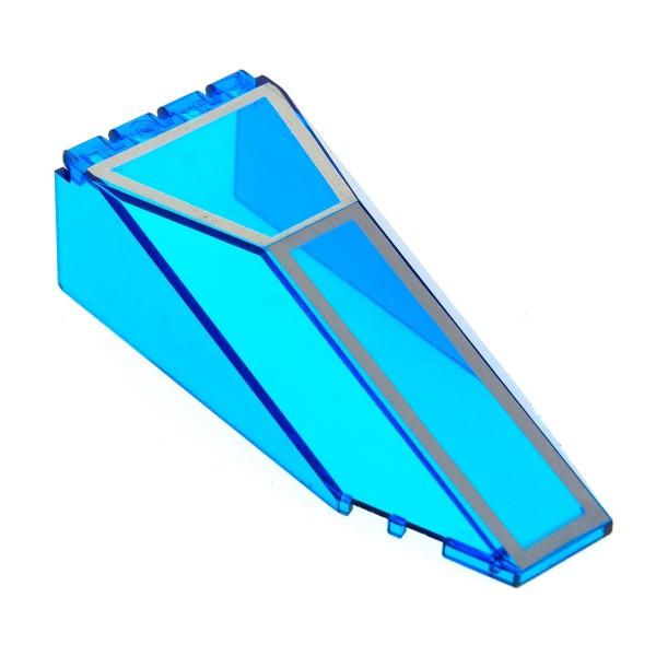1 x Lego System Cockpit transparent dunkel blau 10x4x2 1/3 windscreen mit silbernen Linien Vordach Kanzel Kuppel Fenster Set 5599 5600 2507pb03
