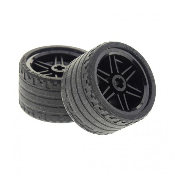 2 x Lego Technic Rad Räder Reifen schwarz 37x22 ZR Technik Felge schwarz 30.4mm D. x 20mm Auto Fahrzeug 56145 55978 4299389 4499234 56145c03