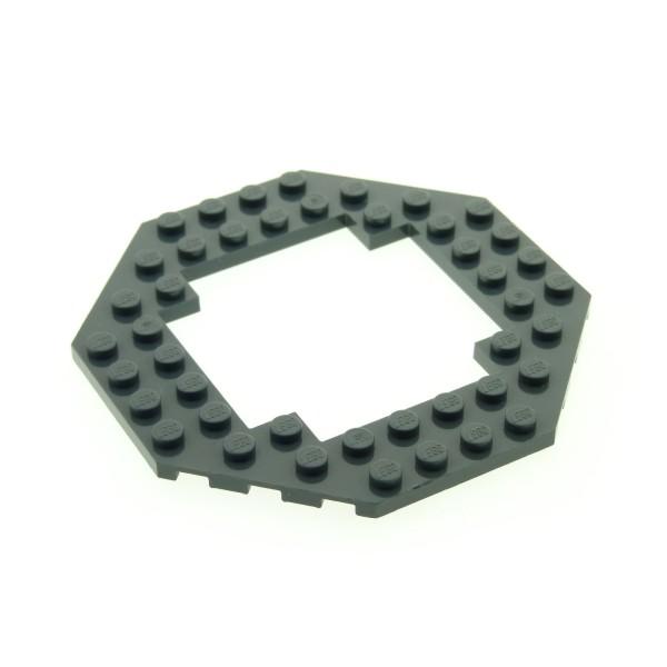 1 x Lego System Bau Boden Platte neu-dunkel grau 10x10 Achteck Octagon in der Mitte offen 6063