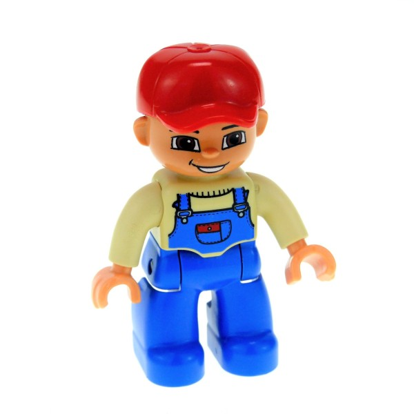 1 x Lego Duplo Figur Mann Vater großer Bruder Hose blau Latzhose Pullover beige tan Mütze Basecap rot Bauer 47394pb115