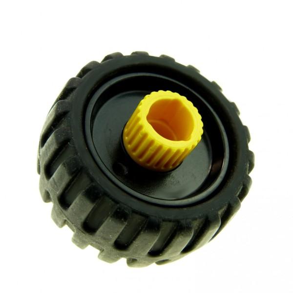 1 x Lego Duplo Toolo Rad mit Felge schwarz gelb Reifen mit Profil Fahrzeug 6292 6290 4514411 6290c01