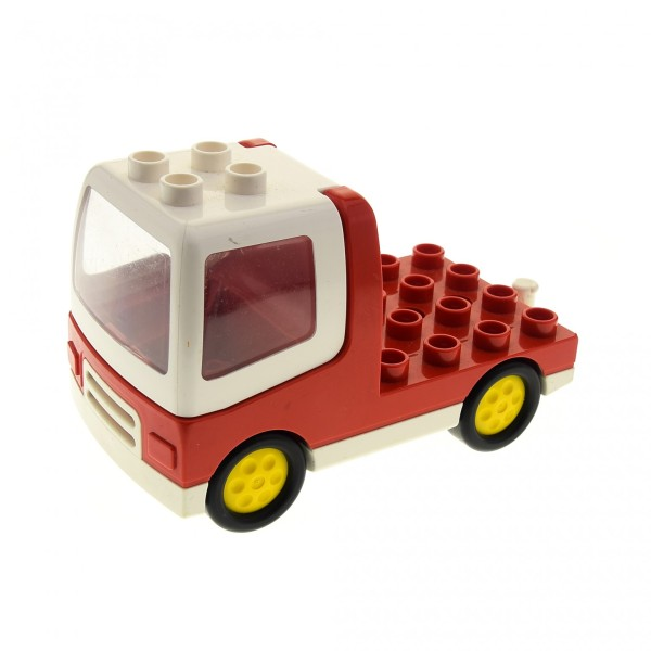 1 x Lego Duplo Fahrzeug LKW Laster Auto Lastwagen rot weiß Zugmaschine mit Kabinen Fenster Windschutzscheibe duptruck01c02 31077