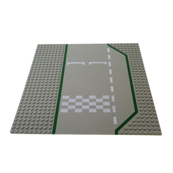 1 x Lego System Bau Platte Rennbahn alt-hell grau 32 x 32 Noppen 32x32 Strasse Ziel Start Linie 4555 6381 6395 425p01